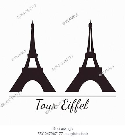 Vector illustration of Eiffel tower silhouette in two styles. Isolated. For print or souvenir design