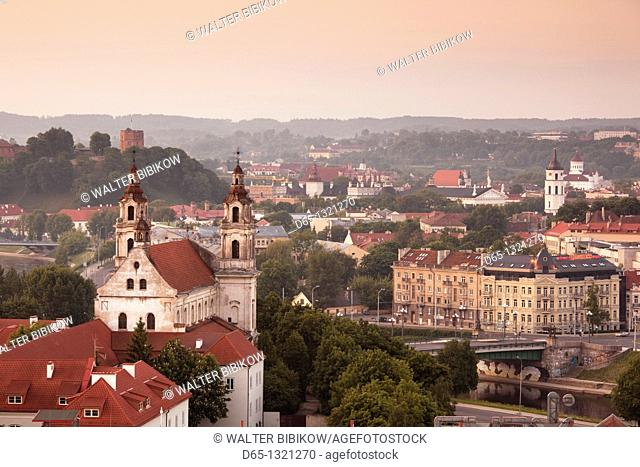 Lithuania, Vilnius, elevated view of St  Raphael's Church, dawn