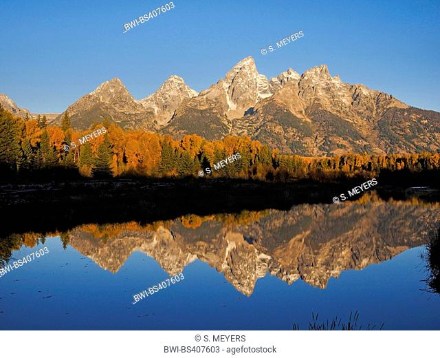 Schwabacher Landing with view to the Grand Teton, USA, Wyoming, Grand Teton National Park