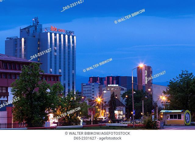 Romania, Transylvania, Sibiu, Ibis and Golden Tulip hotels, dawn