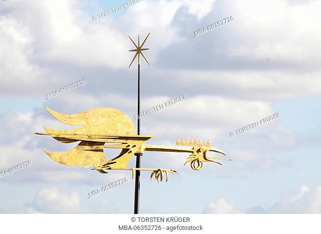 wind vane on the city hall, lower city, Old Town, Tallinn, Estonia, Europe