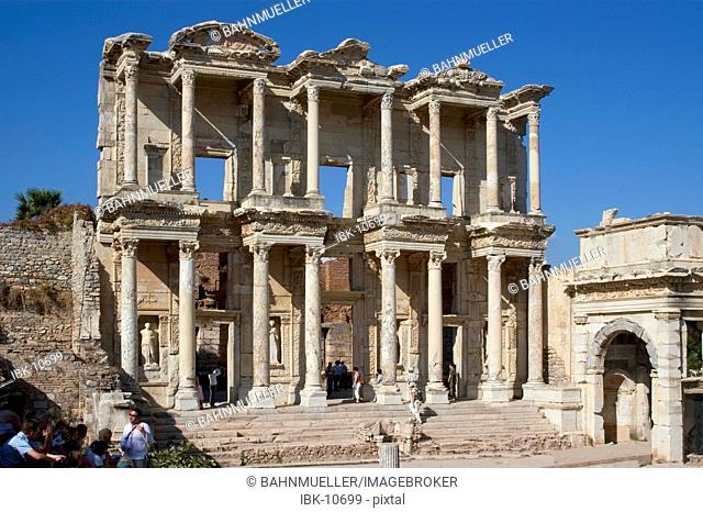 Turkey Ephesus excavation library of Celsus erected 135 AD by C. Aquila as a memorial to this father Celsus