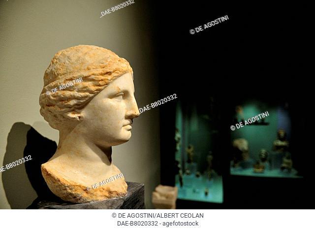 Head of Aphrodite, marble sculpture, from Demetrias, near Volos, Greece. Hellenistic civilization. Volos, Archaeological Museum