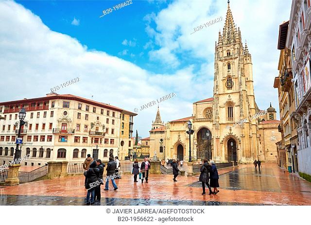 Cathedral, Plaza Alfonso II El Casto, Oviedo, Asturias, Spain