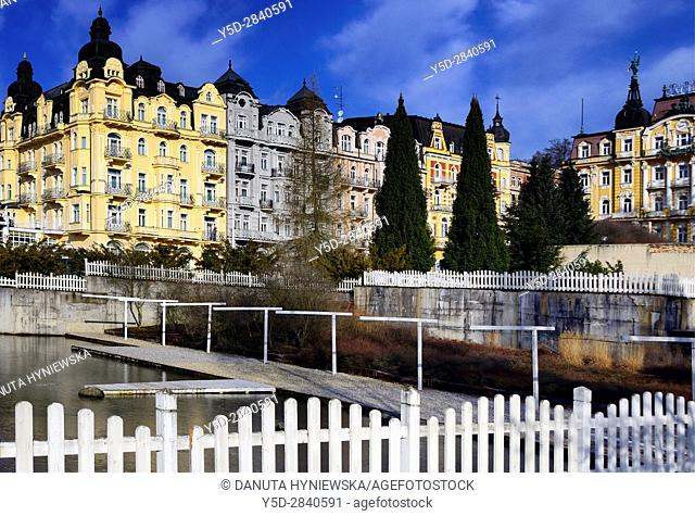 Residential architecture, Spa resort Marianske Lazne - Marienbad, West Bohemia, Czech Republic, Europe