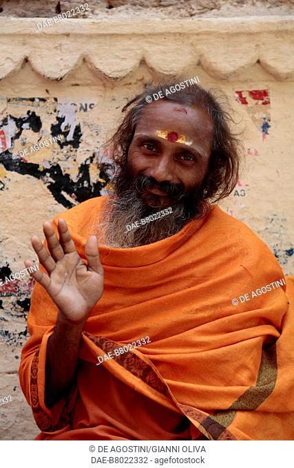 Sadhu, Hindu ascetic or holy man, with tilaka, forehead decoration, Varanasi, India