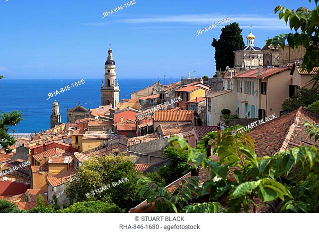 View over old town and port, Menton, Provence-Alpes-Cote d'Azur, Provence, France, Mediterranean, Europe