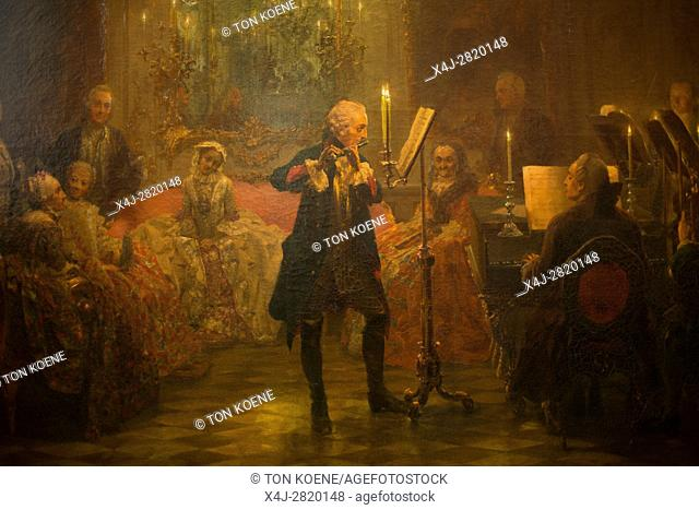 The Flute Concert of Frederick the Great at Sanssouci by Adolph Menzel, at the old national gallery in Berlin
