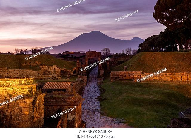 Landscape with ancient ruins and Mount Vesuvius in background
