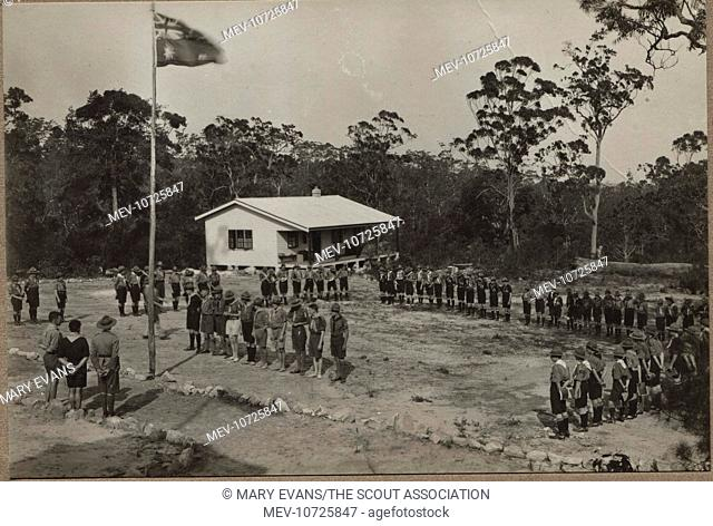 Scouts on parade at a camp in Australia