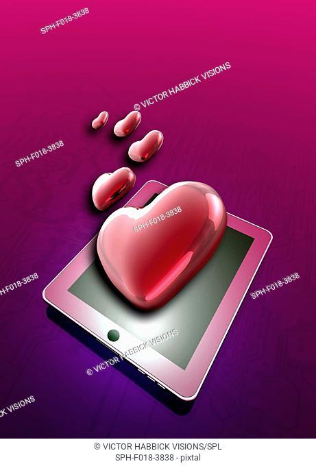Internet dating, conceptual illustration