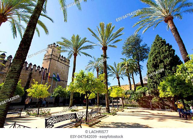Outside the Alcazar de los Reyes Cristianos in Cordoba, Andalusia
