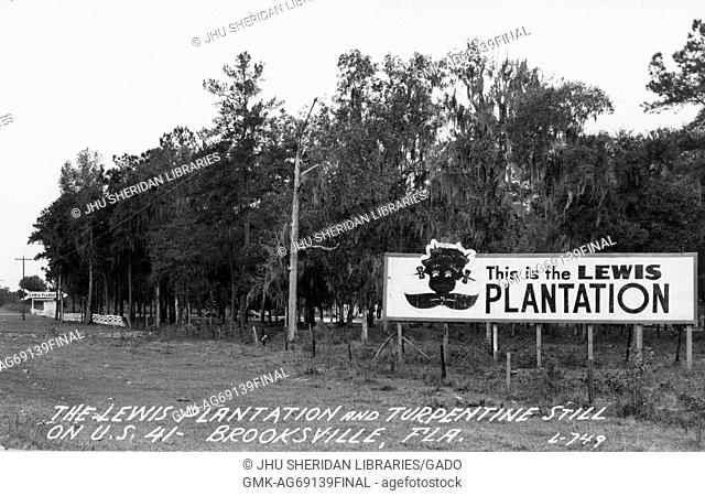 """Landscape of the Lewis Plantation in Brooksville, Florida with a large sign that reads """"""""This is the Lewis Plantation"""""""" and has a crude image of an African..."""
