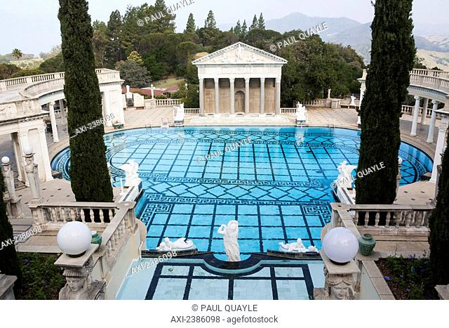 A luxurious outdoor swimming pool with a view of the mountainous landscape; California, United States of America