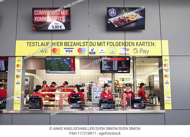 Feature, Kiosk in the stadium with G Pay, Test run, Football 1.Bundesliga, 22.matchday, Bayer 04 Leverkusen (LEV) - Fortuna Dusseldorf (D) 2: 0, on 17
