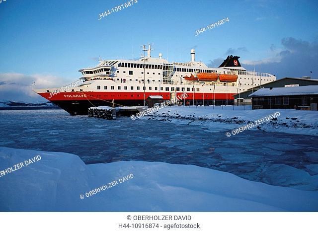 Europe, Scandinavia, Norway, Hurtigruten, sea cruise, MS, Polarlys, cruise, ship journey, cold, mailboat, packet ship, Kirkenes, iceboundly, ice, sea ice