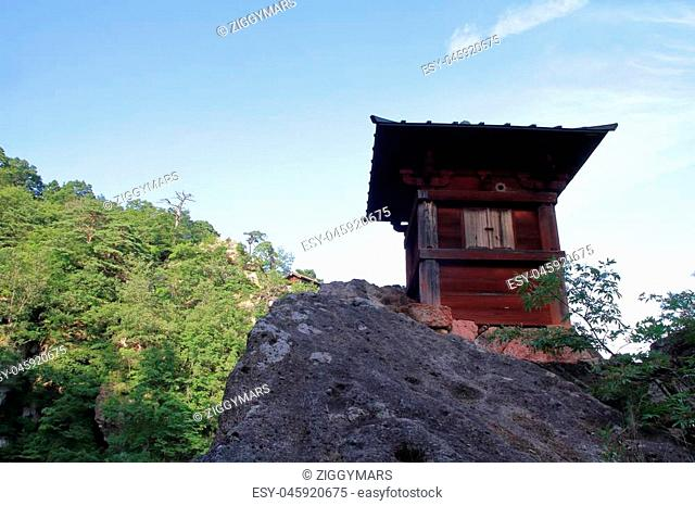 sutra repository of Risshaku ji (Yamadera) in Yamagata, Japan