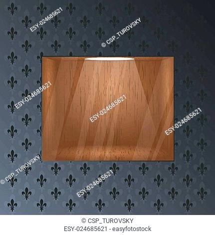 Empty wooden shelf for exposition. Light effect. Glass effect on a separate layer