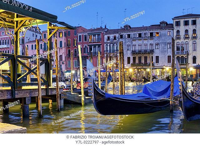 Gondolas in Canal Grande, Venice, Italy,