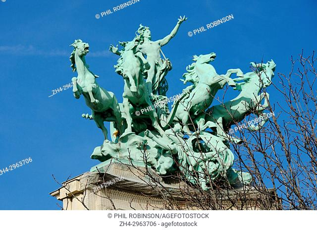 Paris, France. Grand Palais: Quadriga (George Recipon) on the south eastern corner of the palace