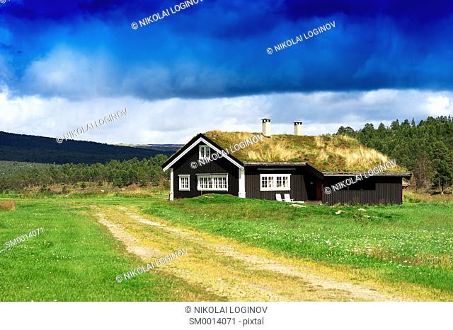 Classic Norway cottage landscape background hd