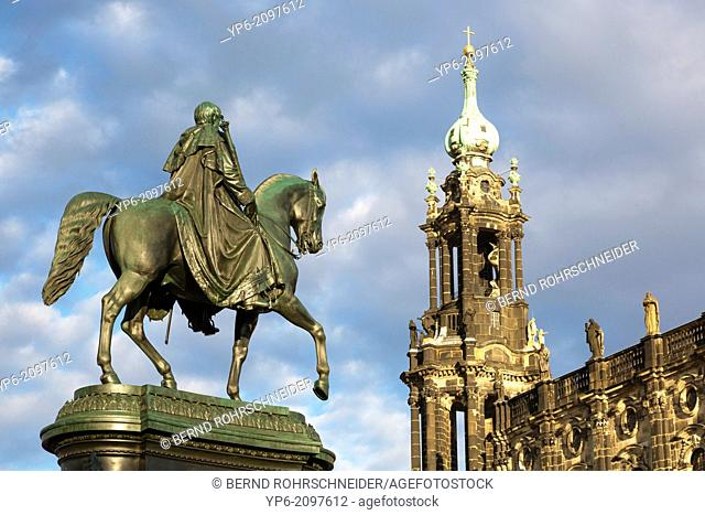 statue of king John of Saxony and Dresden Cathedral, Dresden, Saxony, Germany
