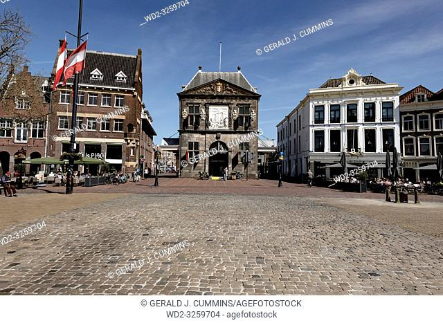 Netherlands; Gouda, 2017, city center, showing its famous chesse weighing house,