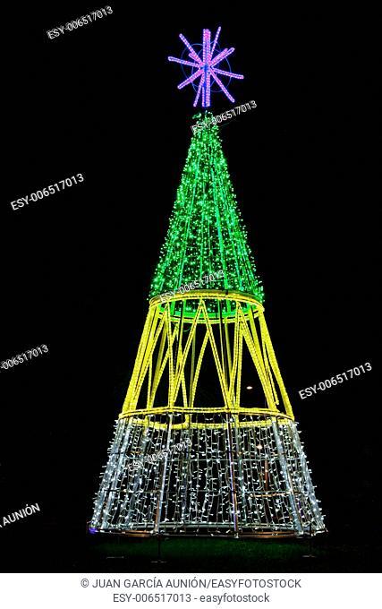 Led Christmas tree placed on park grassland area