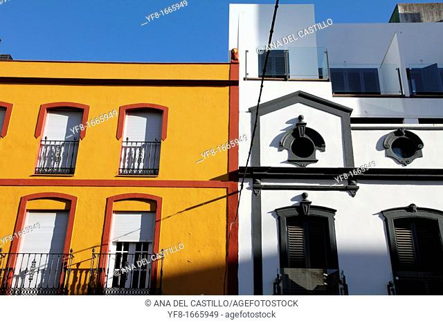 Facades in Merida city, Badajoz province, Extremadura, Spain