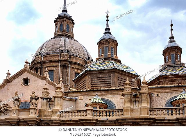 Nuestra Señora del Pilar Basilica, Saragossa, Zaragoza, Aragon, Spain, Europe