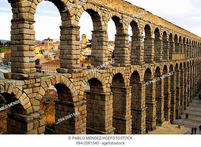 View of the aqueduct of Segovia, Spain