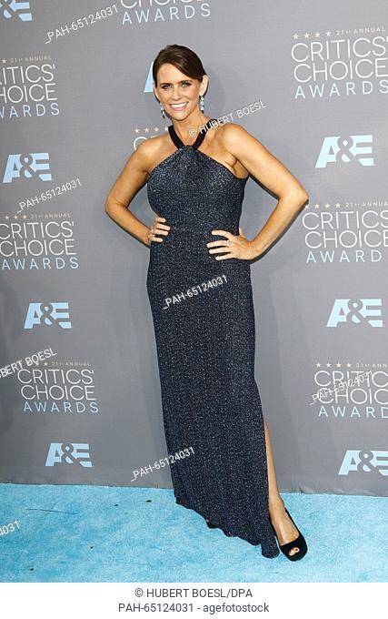 Actress Amy Landecker arrives at the 21st Annual Critics' Choice Awards at Barker Hangar at Santa Monica Airport in Los Angeles, USA, on 17 January 2016