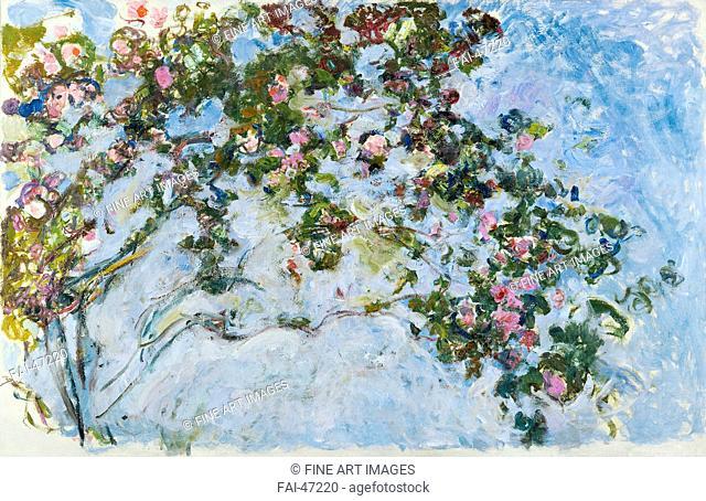 Roses by Monet, Claude (1840-1926)/Oil on canvas/Impressionism/1925-1926/France/Musée Marmottan Monet, Paris/130x200/Landscape/Painting/Rosen von Monet