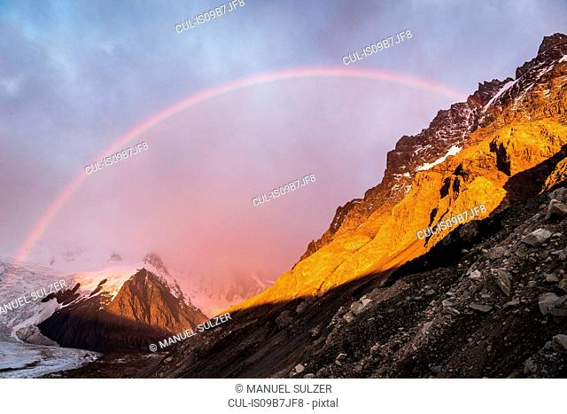 Rainbow and dramatic sky over Torre glacier in Los Glaciares National Park, Patagonia, Argentina