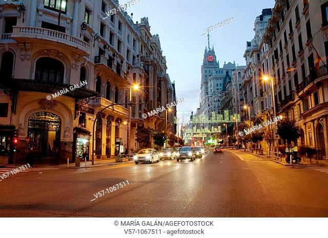 Gran Via street at night. Madrid, Spain