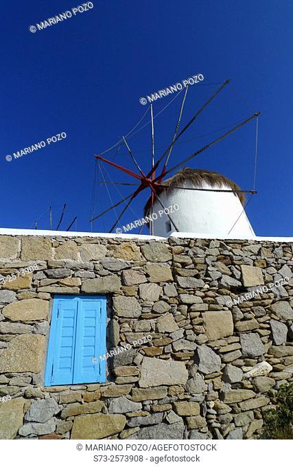 Windmills in Mikonos, Cyclades Islands, Greece