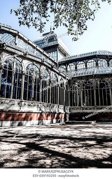 Madrid Palacio de Cristal in Retiro Park glass crystal palace Spain ( HDR image )