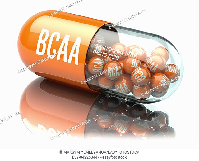 BCAA branched-chain amino acid capsiule isolated on white background. Sport nutrition for bodybuilding. 3d illustration