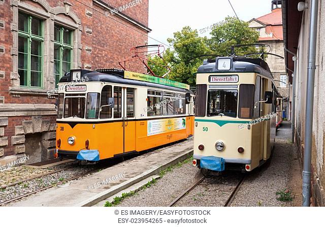 Vintage trolleys / streetcars / tram cars in Naumburg (Saale), Saxony-Anhalt, Germany