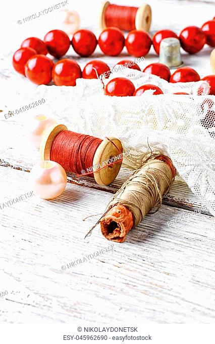 Bright red coral beads,lace and beads set of threads