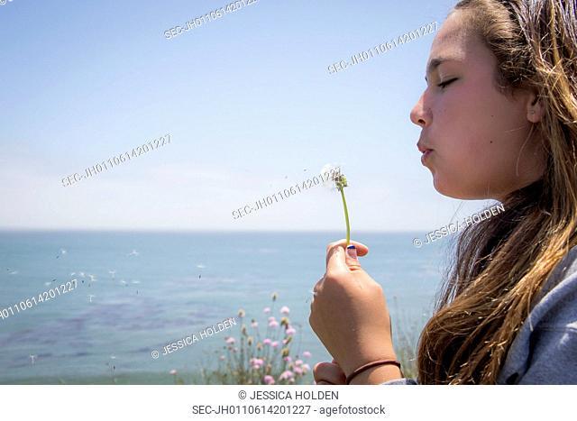 Girl (10-12) blowing on dandelion