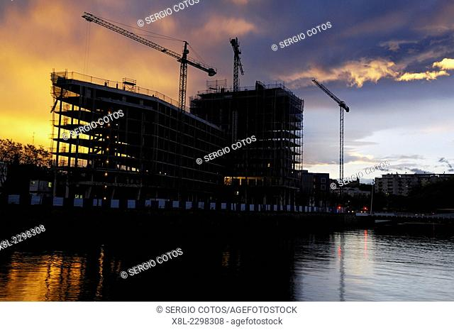 buildings under construction in banks of loyola, Basque Country, guipuzcoa, Spain