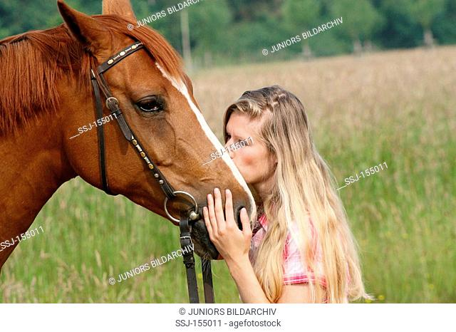 young woman and horse - smoothing