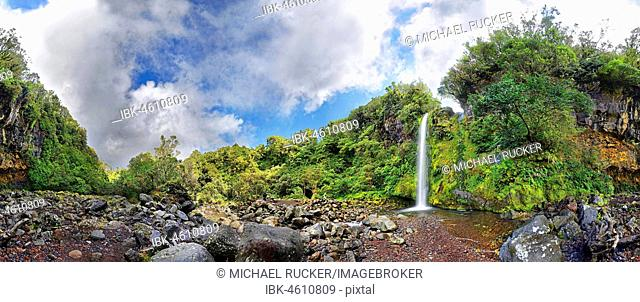 360° panoramic view of the Dawson Falls waterfall in the middle of a tropical rainforest, Dawson Falls, Mount Taranaki or Mount Egmont, Whanganui National Park