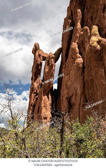 A segment of the Cathedral Spires, Garden of the Gods, Colorado Springs, Colorado, USA, North America, United States