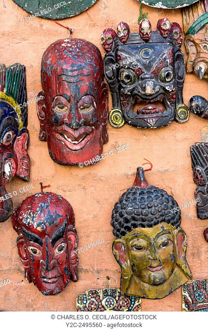 Nepal, Kathmandu, Swayambhunath. Masks for Sale