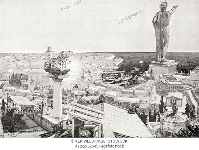 The Colossus of Rhodes. A statue of the Greek titan-god of the sun Helios, erected in the city of Rhodes, Greece by Chares of Lindos in 280 BC