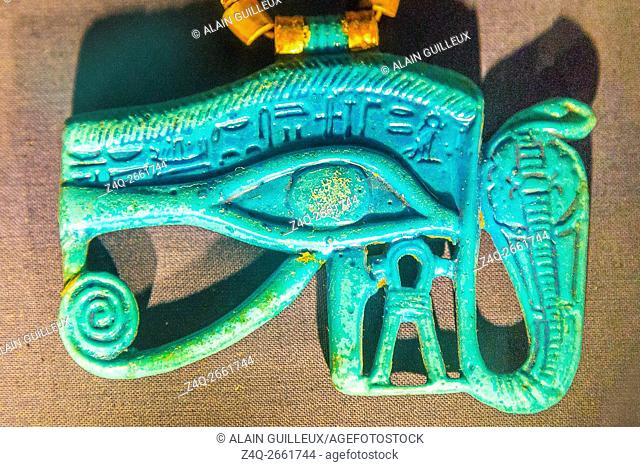 Egypt, Cairo, Egyptian Museum, Tutankhamon jewellery, from his tomb in Luxor : A blue faience pectoral in the shape of an Udjat eye