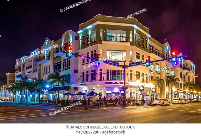 Night scene of building at intersection of West Marion and Taylar Streets in Punta Gorda Florida