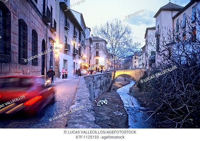 Carrera del Darro street Albaicín quarter  Granada, Andalucia, Spain